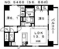 プレサンス四天王寺[201号室号室]の間取り