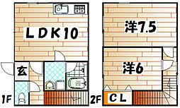 奥野アパート[1号室]の間取り