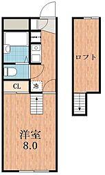 大阪府大阪市東住吉区西今川1の賃貸アパートの間取り