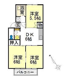 ジュエルコート安田[2階]の間取り