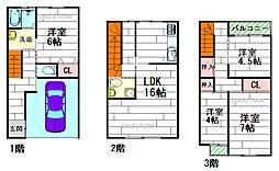 [テラスハウス] 大阪府箕面市粟生外院3丁目 の賃貸【/】の間取り