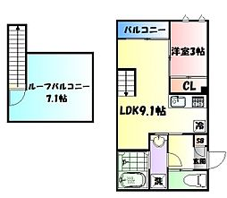 JR仙山線 東照宮駅 徒歩9分の賃貸アパート 2階1LDKの間取り