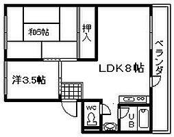 シティハイツ岸和田[6号室]の間取り