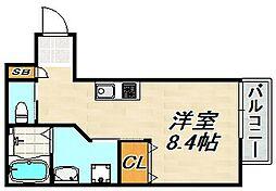 スミカ片山町 1階ワンルームの間取り