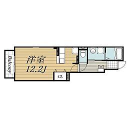 JR成田線 成田駅 徒歩24分の賃貸アパート 1階ワンルームの間取り
