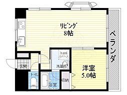 若杉ロイヤルマンション 3階1DKの間取り