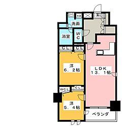 プレサンスジェネ葵 1302号室[13階]の間取り