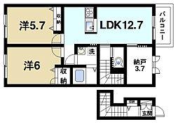 奈良県桜井市大字戒重の賃貸アパートの間取り