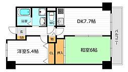 Osaka Metro谷町線 都島駅 徒歩8分の賃貸マンション 6階2DKの間取り