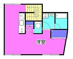 西武新宿線 久米川駅 徒歩5分の賃貸アパート 2階ワンルームの間取り