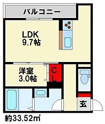グランルージュ桜 3階1LDKの間取り