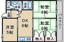 第2ユーロハイツ東豊中[305号室]の間取り