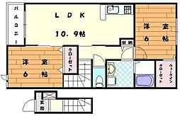 ミルト立花3[2階]の間取り
