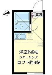 神奈川県横浜市鶴見区元宮1丁目の賃貸アパートの間取り