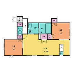 仮称)中央区平尾3丁目ヘーベルメゾン西棟 1階2LDKの間取り