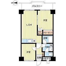 東京都大田区大森北2丁目の賃貸マンションの間取り