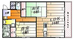 千里泉マンション1 2階2LDKの間取り