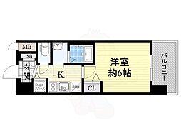 Osaka Metro中央線 九条駅 徒歩5分の賃貸マンション 11階1Kの間取り