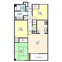 東京都葛飾区東水元3丁目の賃貸マンションの間取り