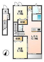 愛知県名古屋市港区小碓1丁目の賃貸アパートの間取り