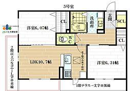 G  Court  Hirano[1階]の間取り