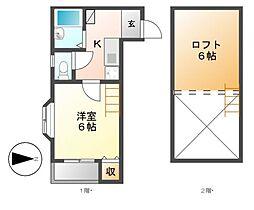 愛知県名古屋市中村区大秋町2丁目の賃貸アパートの間取り