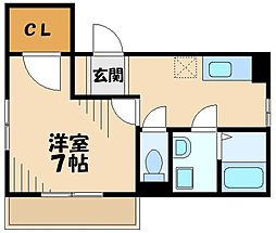 東急田園都市線 あざみ野駅 徒歩6分の賃貸アパート 2階1Kの間取り