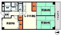 コートロイヤル 5階3LDKの間取り