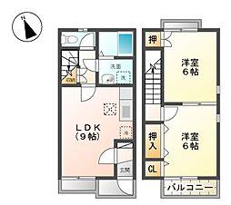 デュープ竹田B[1階]の間取り