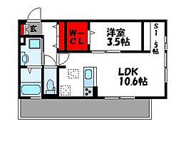 D-room Reiwa 3階1LDKの間取り