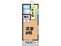 愛媛県松山市束本2丁目の賃貸アパートの間取り