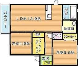 シャーメゾン茶屋の原II C棟[2階]の間取り
