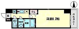 スプランディッド難波WEST 9階1Kの間取り