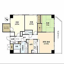 神奈川県横浜市中区北方町2丁目の賃貸マンションの間取り
