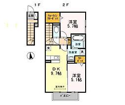 愛知県あま市篠田長堀の賃貸アパートの間取り