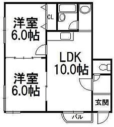 コーポラス北澤[4階]の間取り