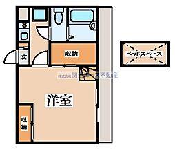 近鉄大阪線 河内山本駅 徒歩27分の賃貸アパート 2階1Kの間取り