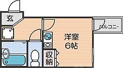 南海線 新今宮駅 徒歩3分の賃貸マンション 1階ワンルームの間取り
