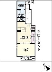 メゾンドスバル[1階]の間取り