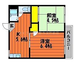 岡山県総社市総社1丁目の賃貸アパートの間取り