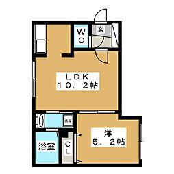北海道札幌市豊平区平岸二条11の賃貸マンションの間取り