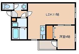 福岡県福岡市博多区吉塚6丁目の賃貸アパートの間取り