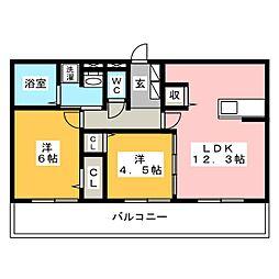 D-room西長住弐番館[1階]の間取り