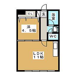 コーポおおとり5号館[1階]の間取り