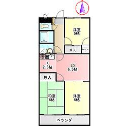 ディアコートツジ[3階]の間取り