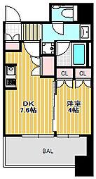 大崎ガーデンレジデンス 8階1DKの間取り