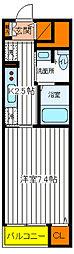 JR中央線 豊田駅 徒歩10分の賃貸マンション 5階1Kの間取り