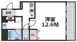セゾンラトゥール桃谷 4階1Kの間取り