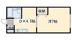 ワンルームマンション喜田[37号室]の間取り