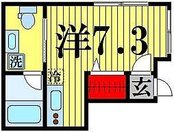 東京都足立区西新井本町1の賃貸アパートの間取り